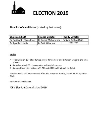 Final Candidates 2019