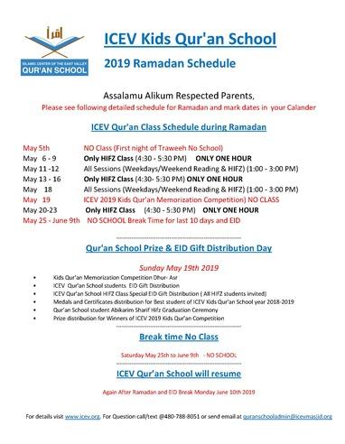 Qur'an School Ramadan Schedule-2019 3