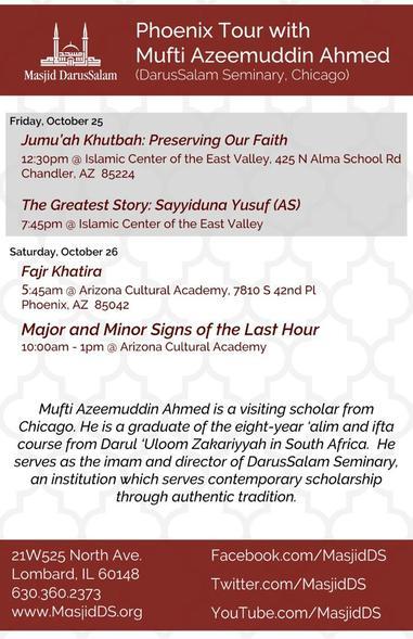 Mufti Azeem Oct 25 and 26 PHX